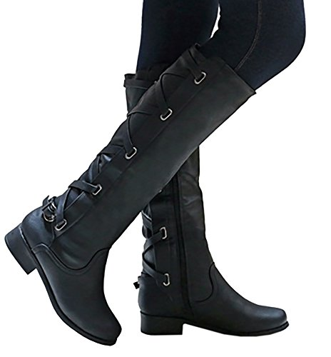 Susanny Womens Wide Calf Knee High Boots Low Chunky Heel Shoes Fashion Zipper Strappy Retro Riding Boot